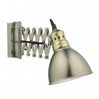 Esra Wall Light in Antique Chrome and Brass