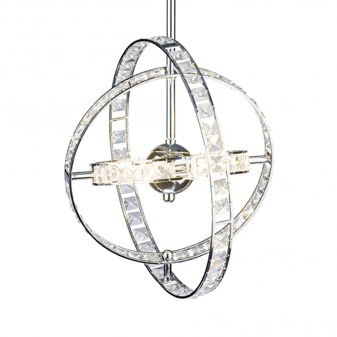 Dar Lighting Eternity Six Light Pendant with Faceted Crystal Glass Rings