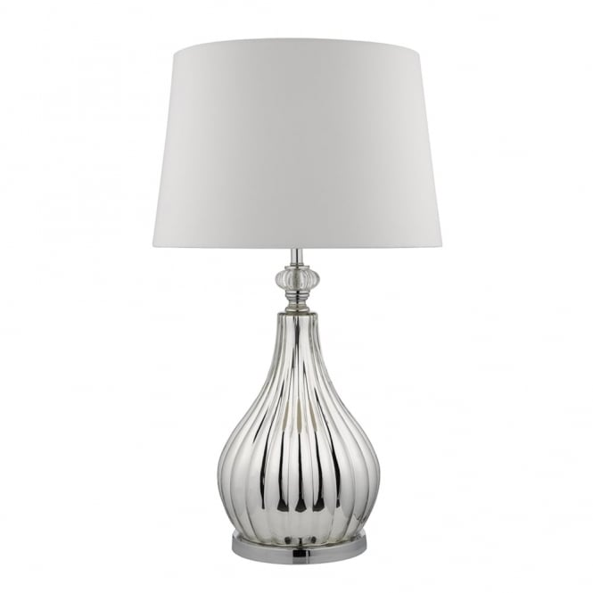 Dar Lighting Fauve Table Lamp with Ivory Faux Silk Shade