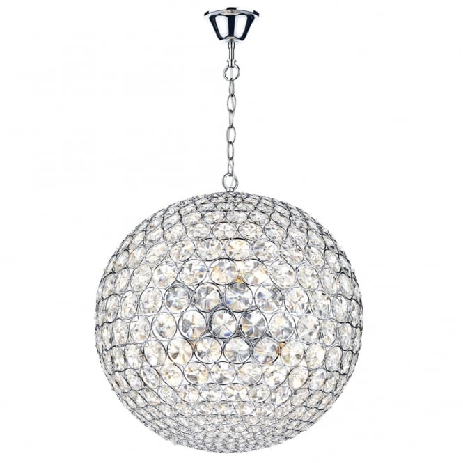 Dar Lighting Fiesta Eight Light Crystal Sphere Pendant