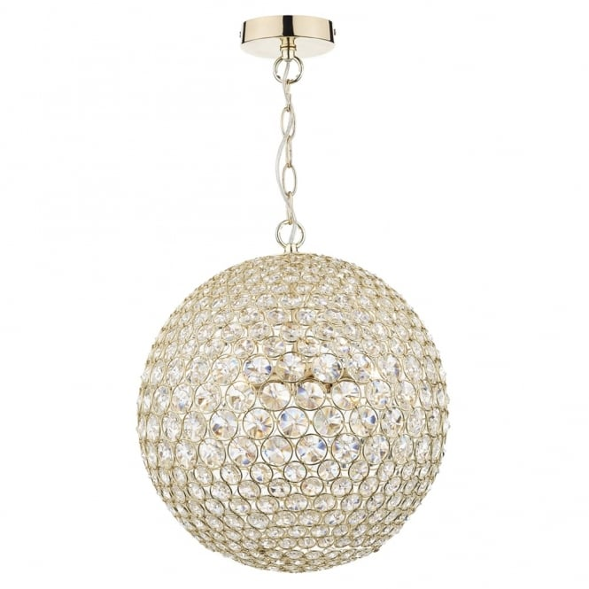 Dar Lighting Fiesta Five Light Crystal and Gold Sphere Pendant