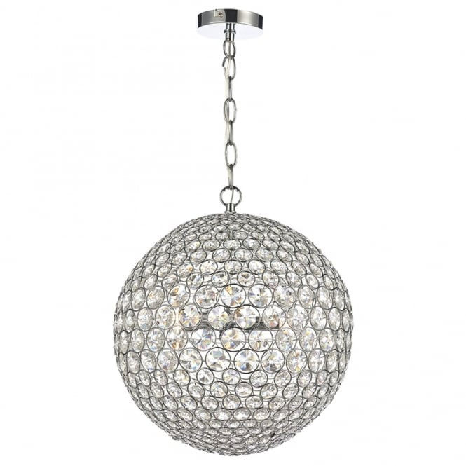 Dar Lighting Fiesta Five Light Crystal Sphere Pendant