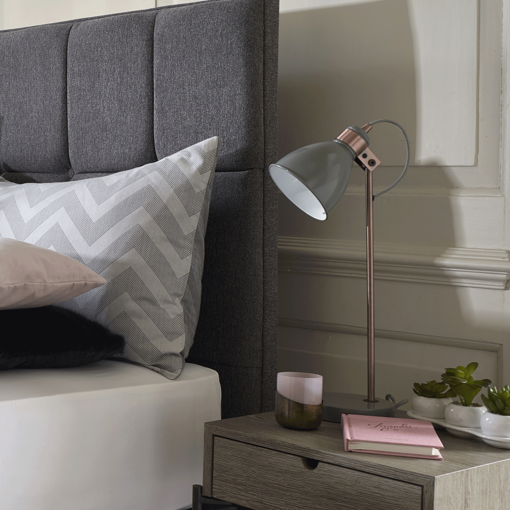 Dar lighting frederick table lamp in gloss grey and copper fitting frederick table lamp in gloss grey and copper aloadofball Images
