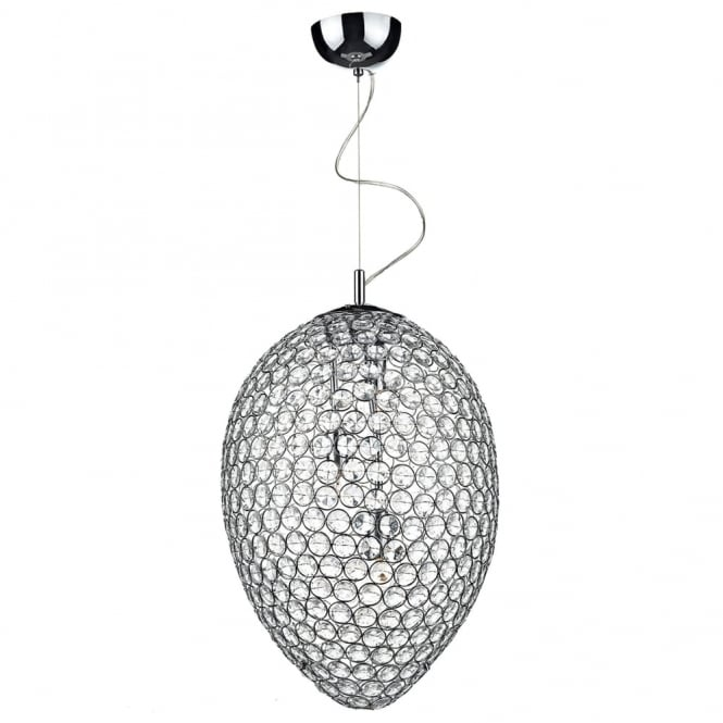 Dar Lighting Frost 3 Light Crystal and Chrome Pendant