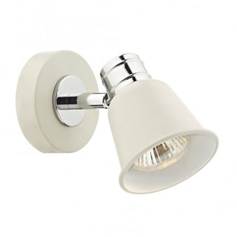 Fry Single Light Wall Light in Pale Cream and Polished Chrome