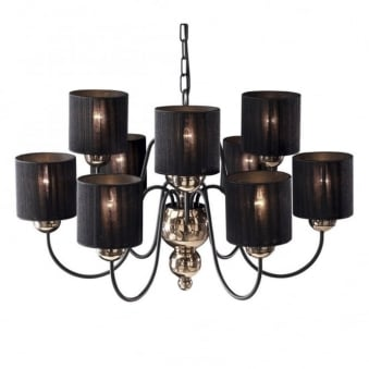 Garbo 9 Light Bronze Pendant with Black String Shades