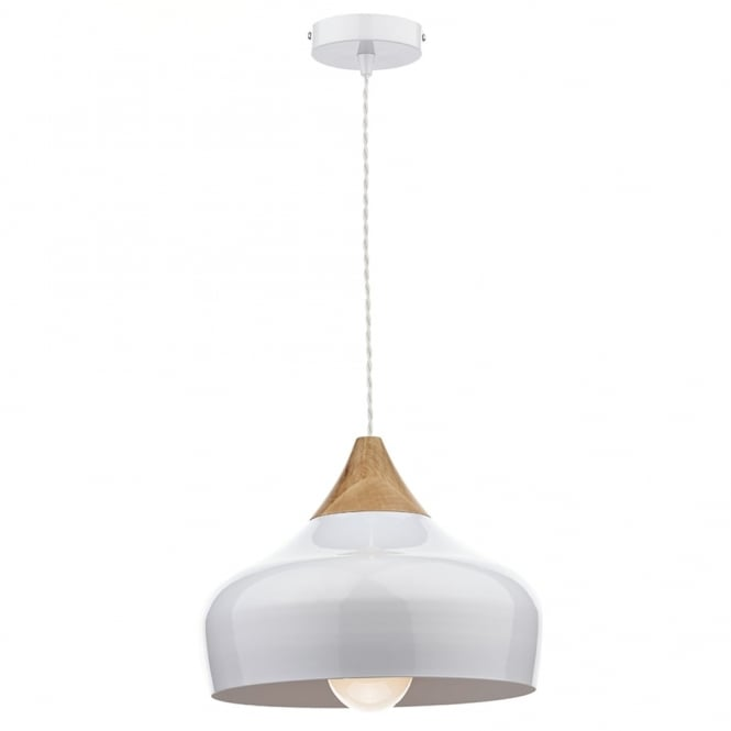 Dar Lighting Gaucho Pendant Light in White Gloss