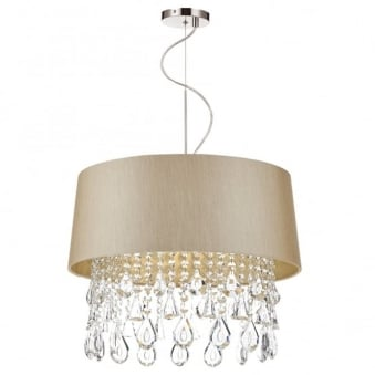 Geraldine Shaded Crystal Pendant in Taupe