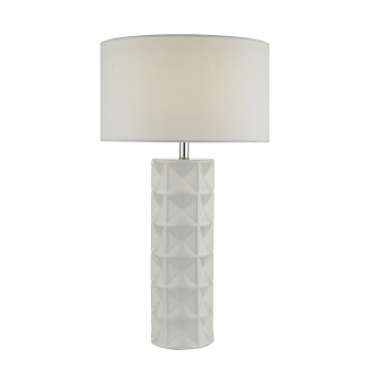 Gift White Ceramic Table Lamp with White Linen Shade