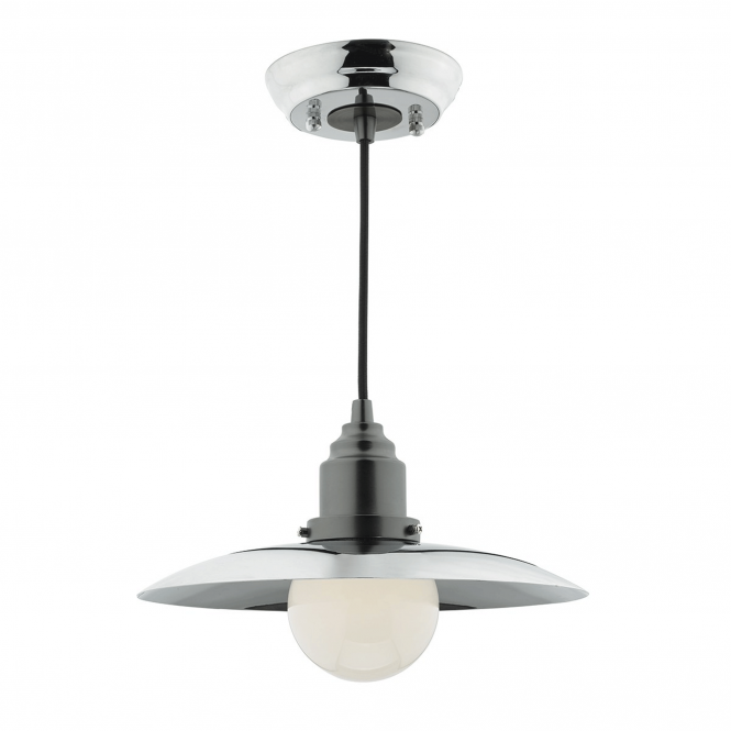 Dar Lighting Hannover Single Light Pendant in Antique and Polished Chrome