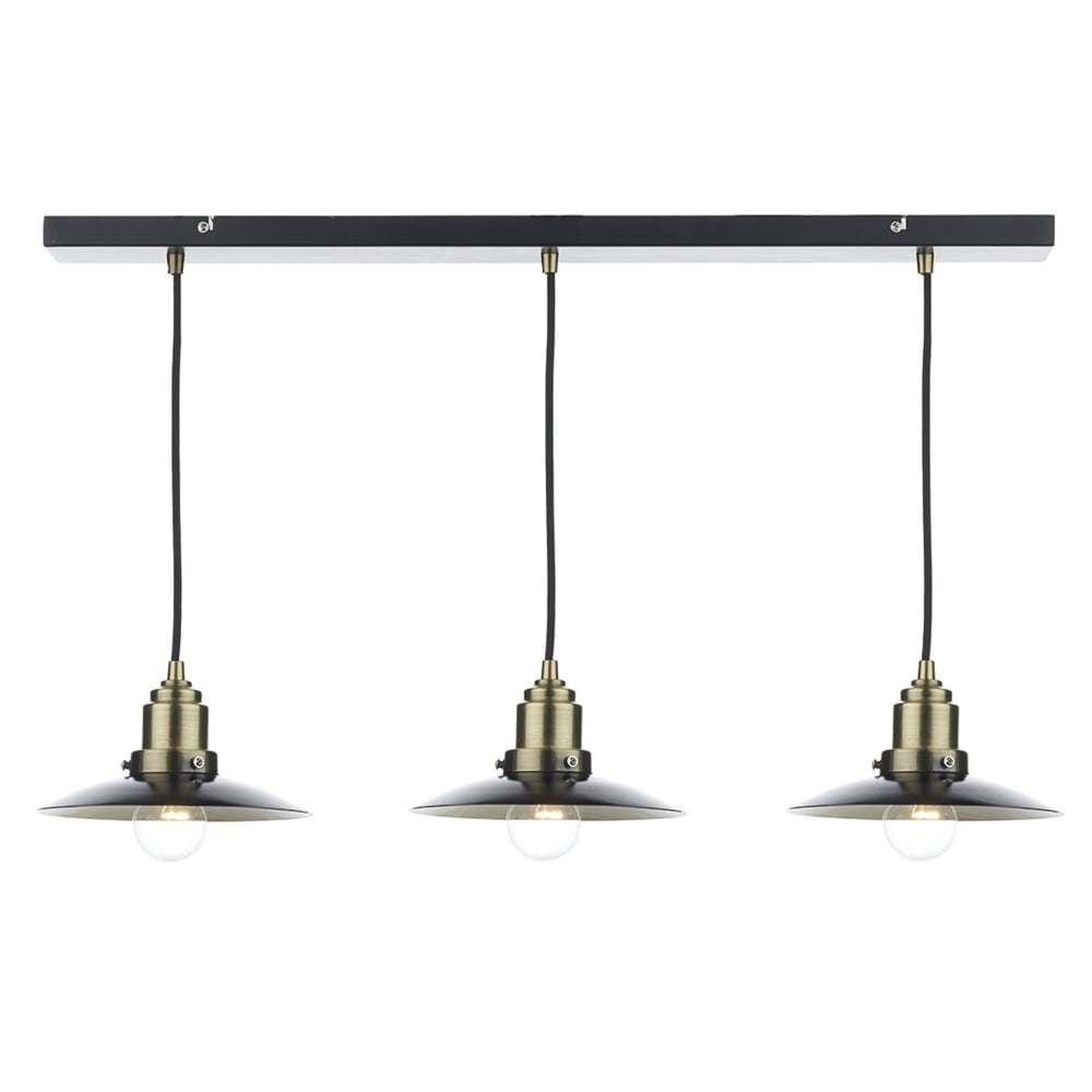 Dar Lighting Hannover Triple Light Bar Pendant In Black