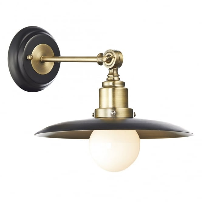 Dar Lighting Hannover Wall Light in Black and Antique Brass