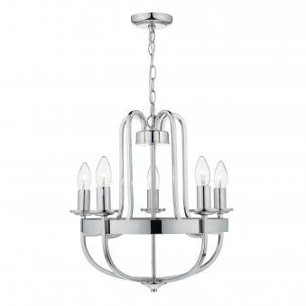 Heythrope Five Light Pendant in Polished Nickel