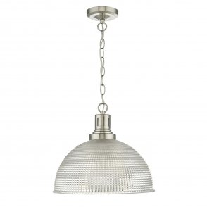 Hodges Pressed Glass and Satin Nickel Pendant