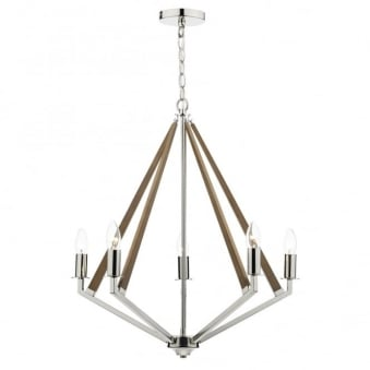 Hotel Five Arm Wood and Polished Nickel Pendant Light