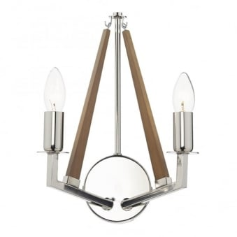 Hotel Twin Lamp Wood and Polished Nickel Wall Light