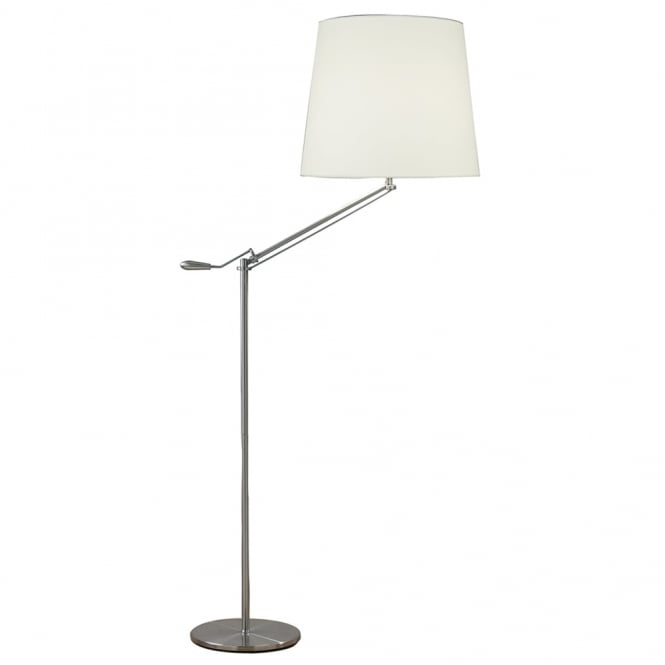 Dar Lighting Infusion Floor Lamp in Satin Chrome with White Cotton Shade