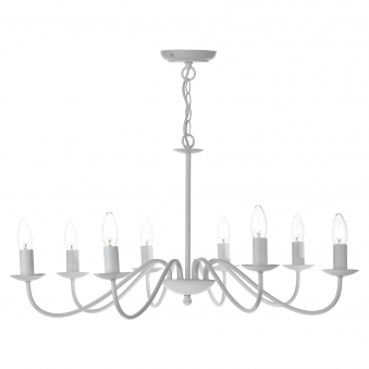 Irwin Eight Light Dual Mount Pendant in Matt White