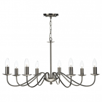 Irwin Eight Light Dual Mount Pendant in Satin Chrome