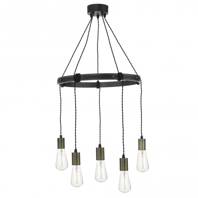 Dar Lighting Ivan 5 Light Rustic Cartwheel Pendant