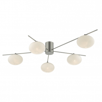 Jasper Five Light Semi Flush Fitting with Opal Glass