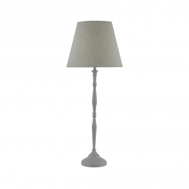 Dar Lighting Joanna Soft Grey Table Lamp with Grey Linen Shade