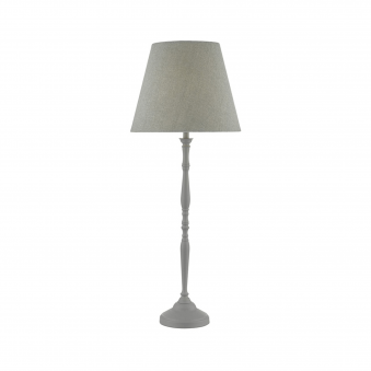 Joanna Soft Grey Table Lamp with Grey Linen Shade