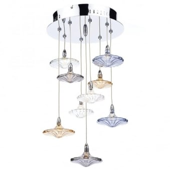 Juliette 9 Light Cluster Pendant with Hand Blown Decorative Shades