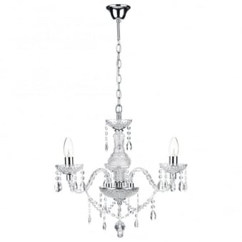 Katie 3 Light Chandelier with Pearl Crystal Droppers and Beads