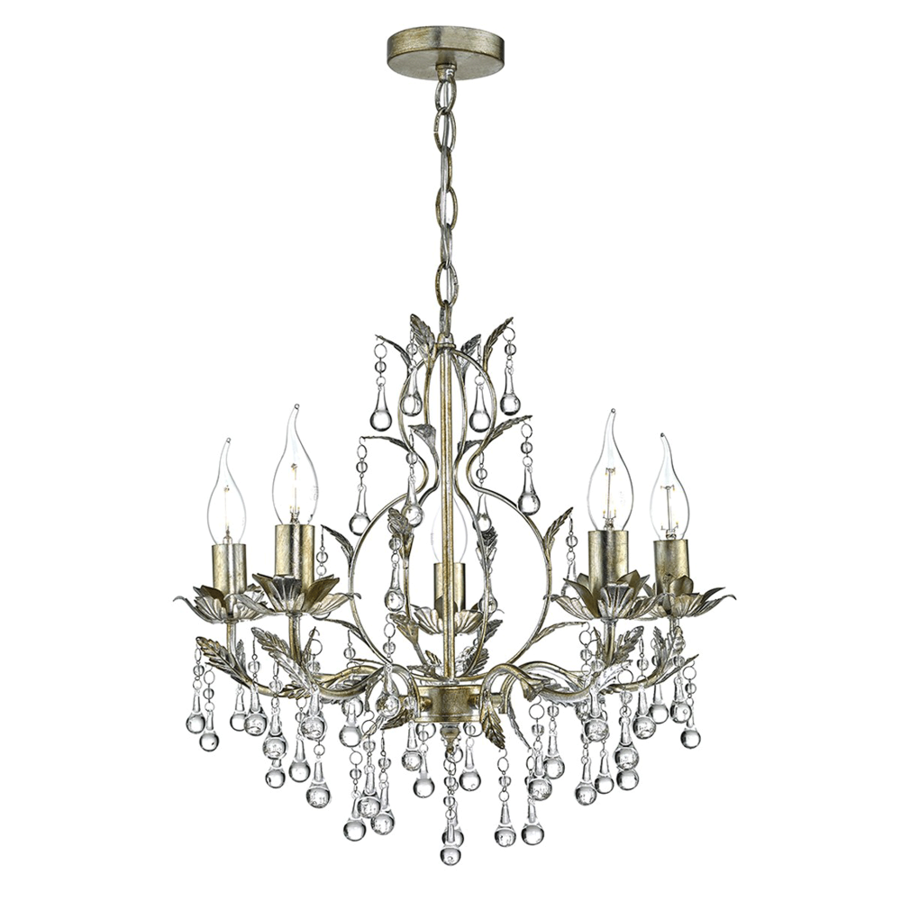 Dar lighting laquila five light chandelier in gold and silver laquila five light chandelier in gold and silver aloadofball Image collections