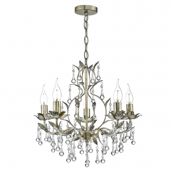 Laquila Five Light Chandelier in Gold and Silver