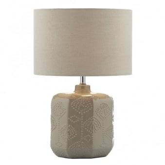 Lincoln Table Lamp with Taupe Cotton Weave Drum Shade