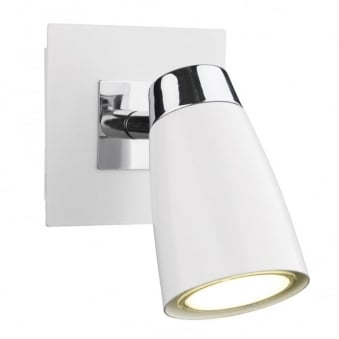 Loft Single Wall Light in Matt White and Polished Chrome