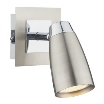 Loft Single Wall Light in Satin and Polished Chrome