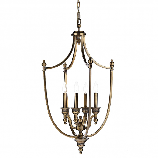 Dar Lighting Lombard Four Light Antique Brass Pendant