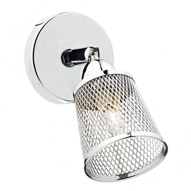 Dar Lighting Lowell Single Wall Light with Basket Weave Shade