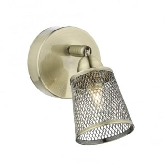 Lowell Wall Light with Basket Weave Shades in Antique Brass