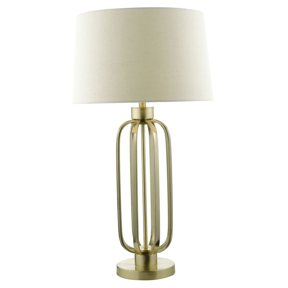 Lucie satin brass table lamp with natural linen shade