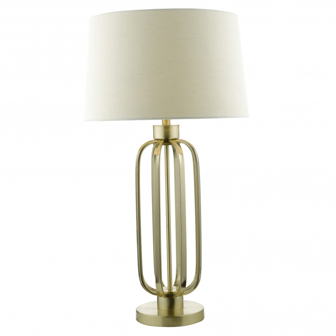 Dar Lighting Lucie Satin Brass Table Lamp with Natural Linen Shade