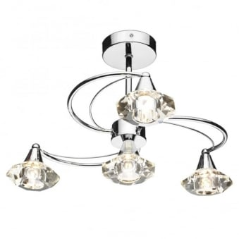Luther 4 Light Semi Flush in Polished Chrome with Crystal Glass