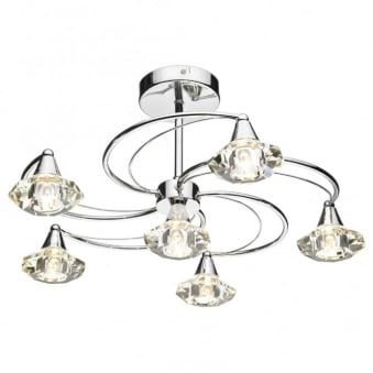 Luther 6 Light Semi Flush Ceiling Light in Polished Chrome