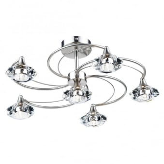 Luther 6 Light Semi Flush in Satin Chrome