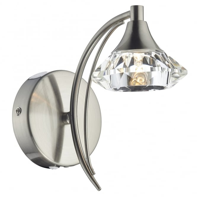 Dar Lighting Luther Single Wall Light in Satin Chrome