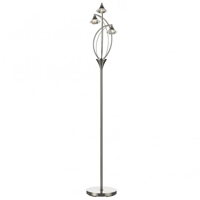 Dar Lighting Luther Triple Light Floor Lamp in Satin Chrome