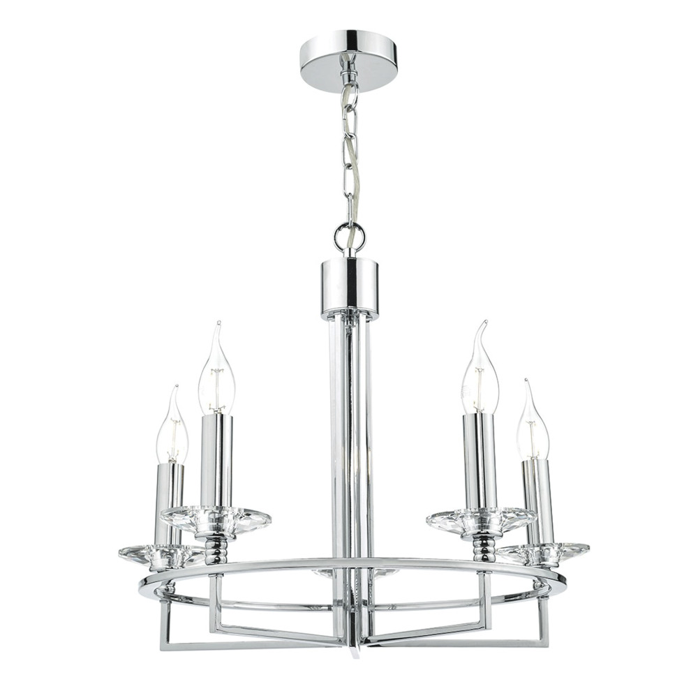 Dar lighting luzern five light pendant in crystal and polished luzern five light pendant in crystal and polished chrome mozeypictures Images