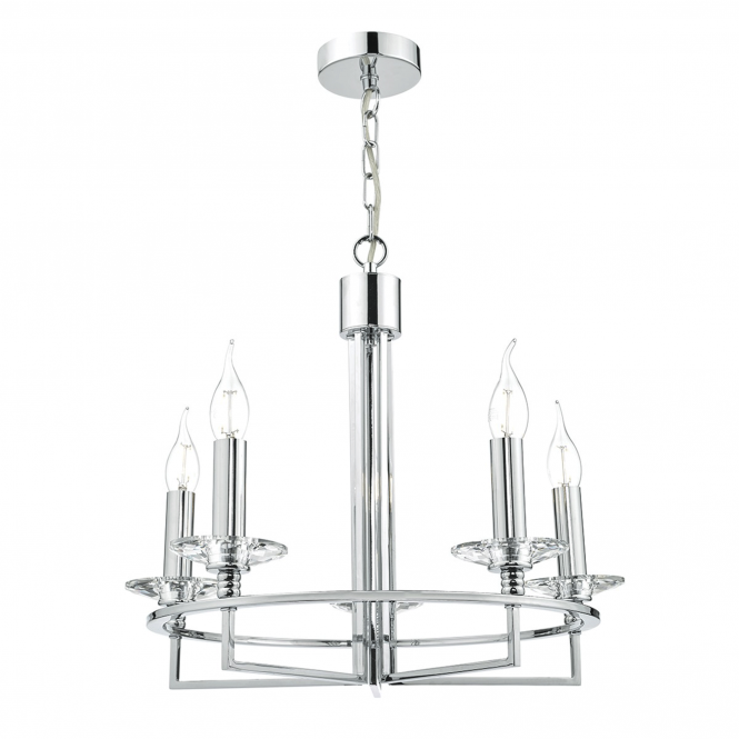 Dar Lighting Luzern Five Light Pendant in Crystal and Polished Chrome