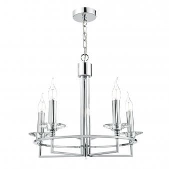 Luzern Five Light Pendant in Crystal and Polished Chrome