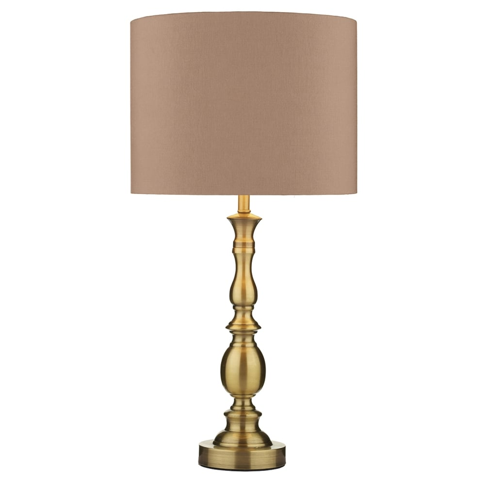 Dar lighting madrid table lamp in antique brass with beige shade fitting type from dusk - Table lamp types ...
