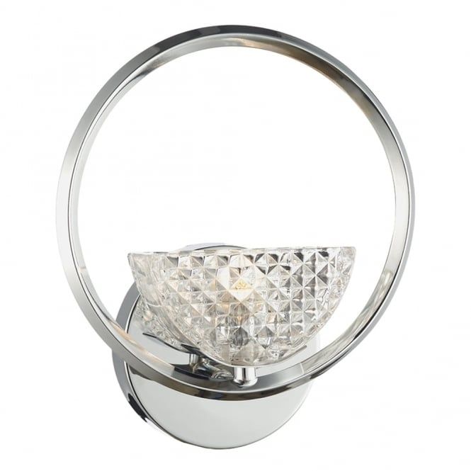 Dar Lighting Maestro Wall Light in Polished Chrome with Crystal Glass Shade