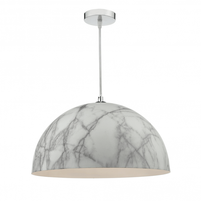 Dar Lighting Magnus Pale Grey Marble Effect Pendant